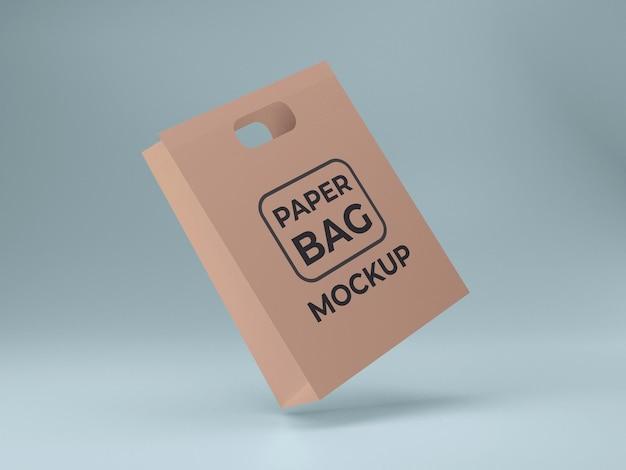 Premium kwaliteit papieren boodschappentas mockup ontwerp geïsoleerde weergave