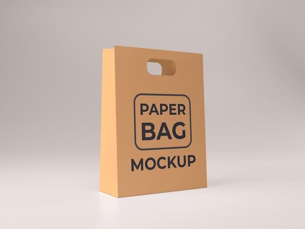 Premium kwaliteit papieren boodschappentas mockup ontwerp zijaanzicht