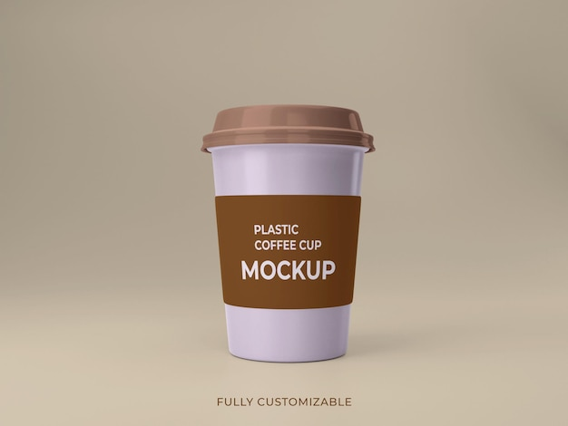 Premium kwaliteit plastic koffiekopje mockup ontwerp voorkant vie