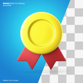 Premium kwaliteit symbool gouden medaille 3d pictogram rendering bewerkbare kleur geïsoleerd