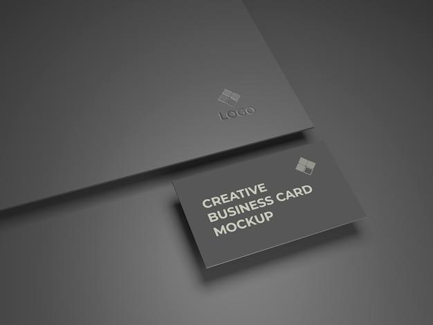 Premium kwaliteit zwart visitekaartje en logo mockup-ontwerp