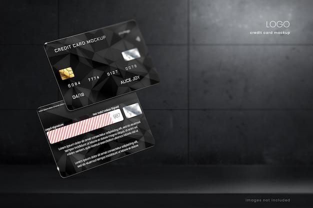Premium mockup-sjabloon voor creditcards en betaalpassen
