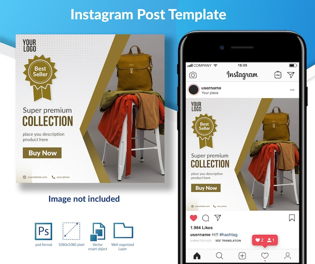 Premium outfit social media bericht sjabloon