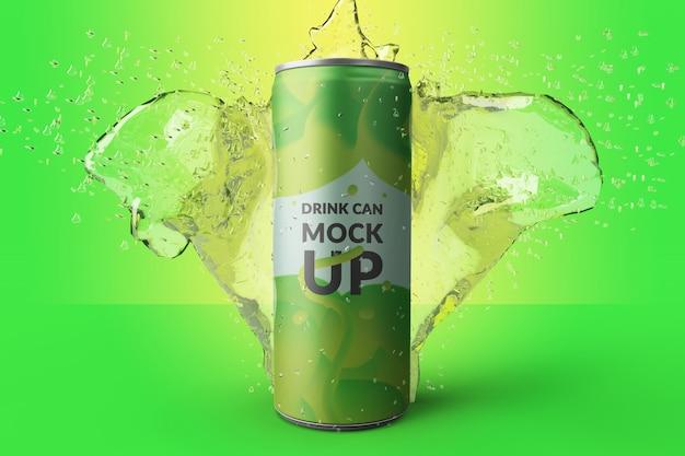 Premium qualtiy realistic long metal drink can con maqueta de salpicaduras de agua