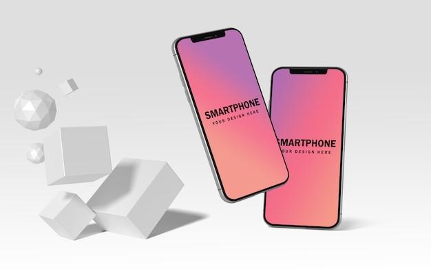 Premium realistische mobiele telefoon mockup gratis psd