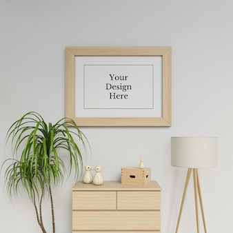 Premium single a1 poster frame mock up ontwerpsjabloon hangend landschap in modern interieur