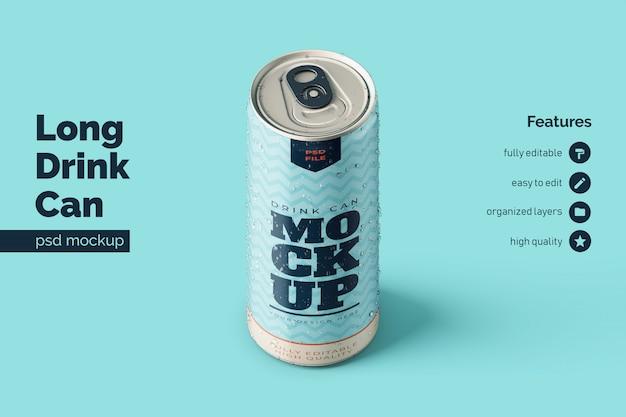 Premium staande lange aluminium drinkblikjes mockups sjablonen in orthografisch vooraanzicht