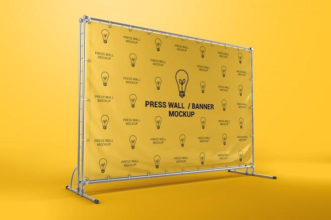Prensa maqueta de banner de pared
