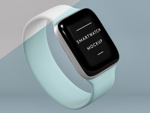 Presentación de alto ángulo para reloj inteligente con maqueta de pantalla