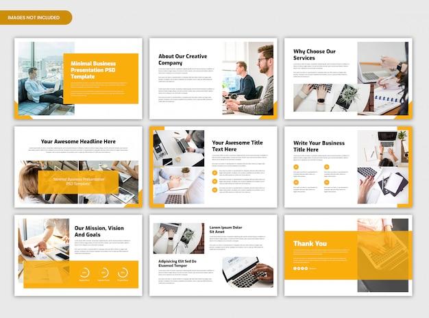 Presentación empresarial mínima y plantilla de resumen del proyecto de inicio
