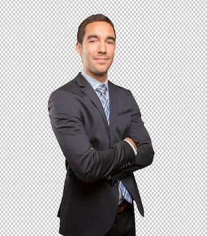 Presentación joven satisfecha del hombre de negocios