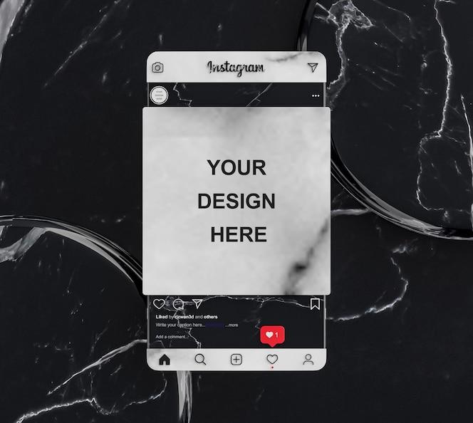 Presentación de maqueta de publicación de redes sociales de instagram fondo de azulejos de mármol negro render 3d