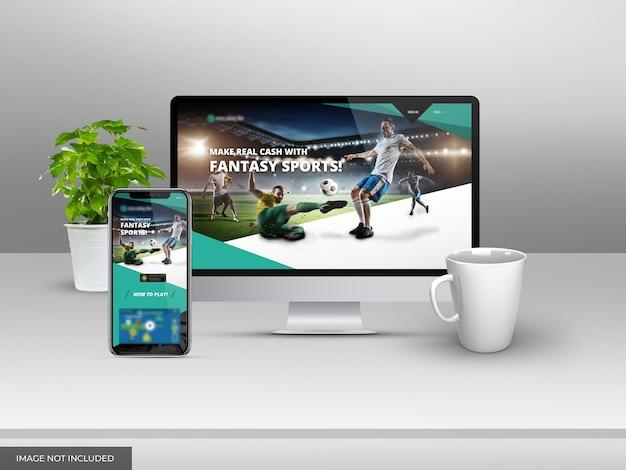 Presentación de maqueta de sitio web con escritorio y móvil