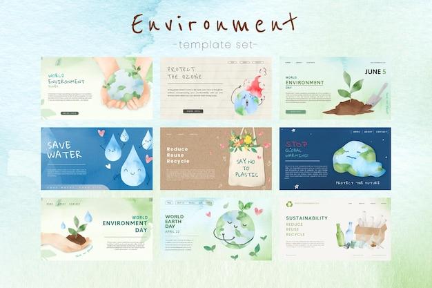 Presentación de psd de plantilla ecológica editable en conjunto de acuarela
