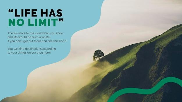 Presentación psd de plantilla de marketing de montaña de viajes para agencias
