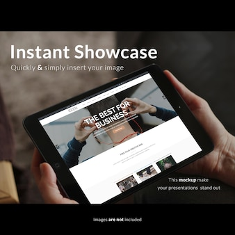 Presentación realista de pantalla de tableta