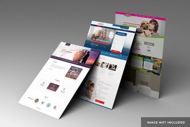 Presentación del sitio web en maqueta de páginas