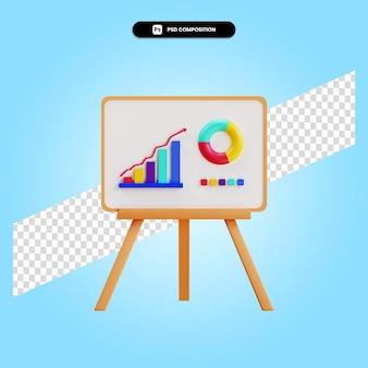 Presentatie met cirkeldiagram en statistieken 3d render illustratie geïsoleerd