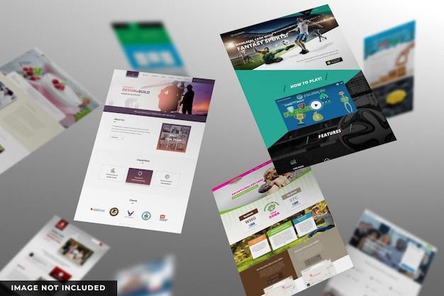 Presentazione del sito web sul mockup di pagine