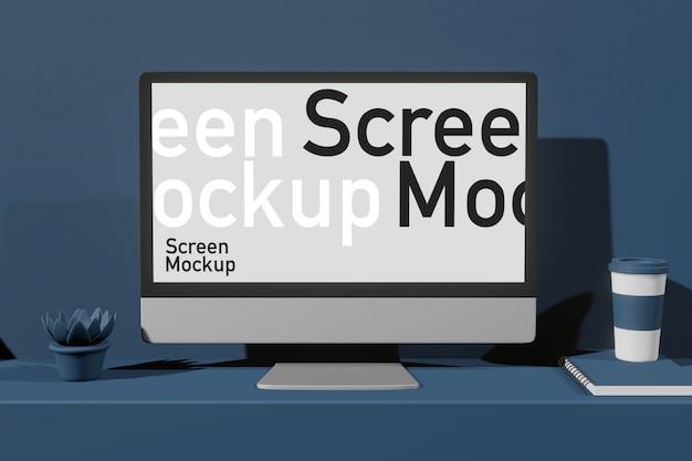 Presentazione dello schermo di computer nel creatore di scena di rendering 3d