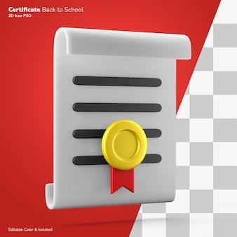 Prestatie certificaat papier met gouden medaille 3d-rendering pictogram bewerkbaar geïsoleerd