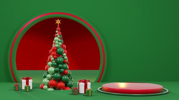 Prettige kerstdagen en een gelukkig nieuwjaar. abstract minimaal ontwerp, geometrische kerstbomen, geschenkdoos, leeg rond realistisch podium, podium. 3d-rendering psd.