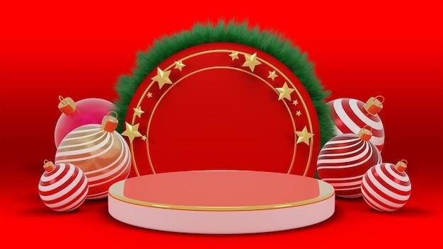 Prettige kerstdagen en een gelukkig nieuwjaar. abstract minimaal ontwerp, leeg rond realistisch podium, podium., psd 3d-rendering.