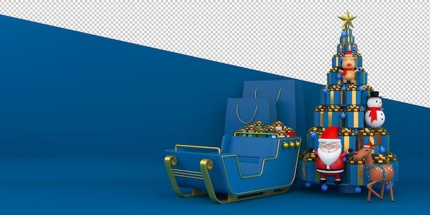 Prettige kerstdagen en gelukkig nieuwjaar 3d-rendering Premium Psd