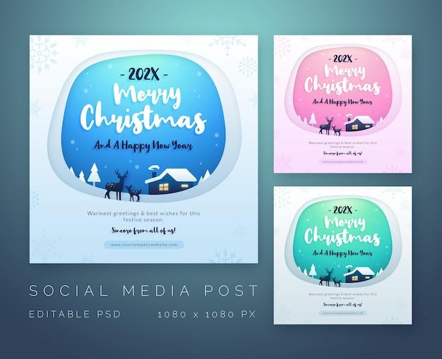 Prettige kerstdagen en gelukkig nieuwjaar groeten sociale mediasjabloon