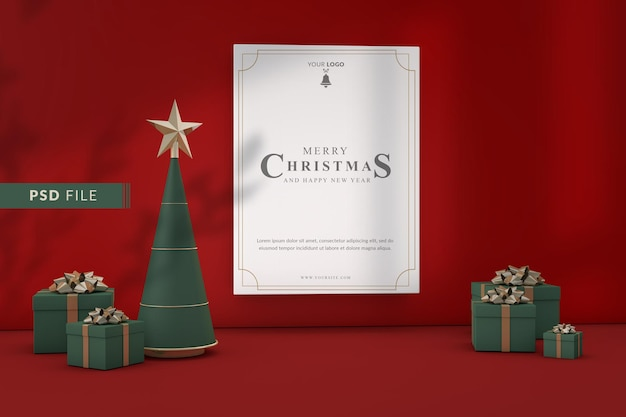 Prettige kerstdagen en gelukkig nieuwjaar mockup concept
