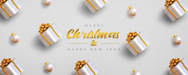 Prettige kerstdagen en gelukkig nieuwjaar sjabloon voor spandoek met geschenkdozen en lampen