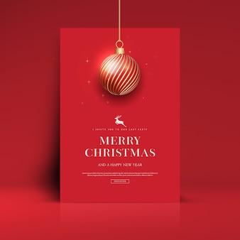 Prettige kerstdagen en gelukkig nieuwjaar wenskaartsjabloon