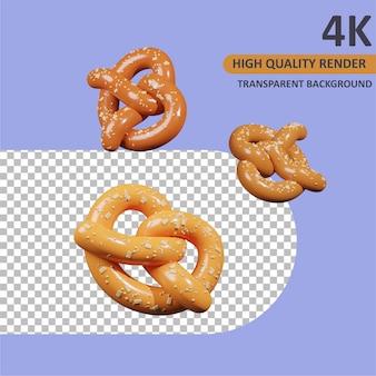 Pretzels vallende cartoon weergave 3d-modellering