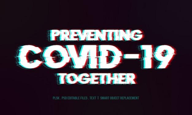 Prevención de la maqueta del efecto de texto en 3d covid-19
