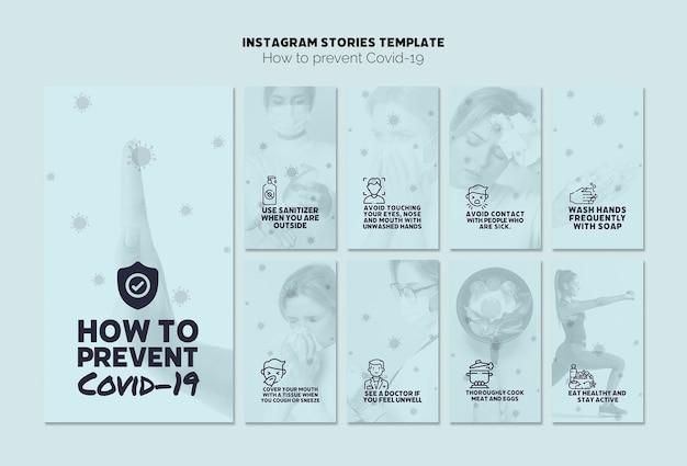 Prevenir la plantilla de historias de instagram covid-19