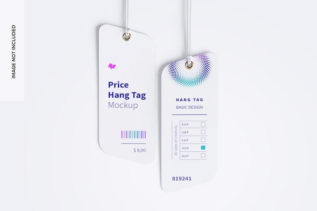 Prijshangtags mockup met string