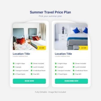 Prijsplan zomerreizen