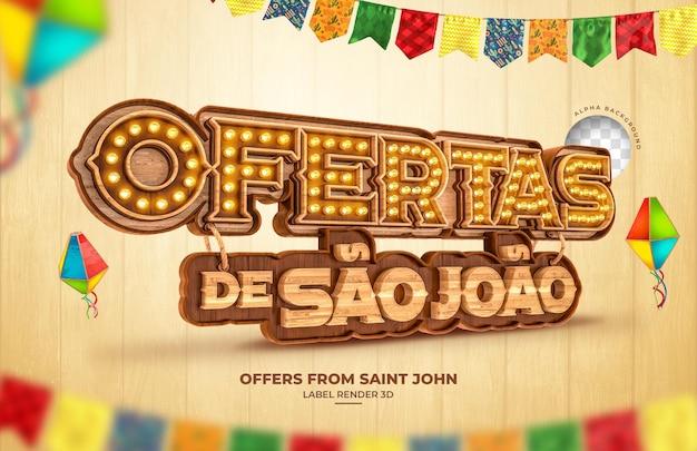 Prijstrekking sao joao 3d render festa junina brazilië banner