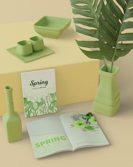 Primavera con decorazioni 3d mock-up