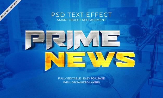 Prime nieuws witte en gele teksteffect sjabloon