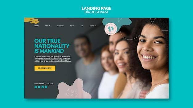Primer plano femenino de la página de inicio de diversas etnias