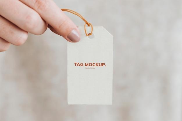 Primer plano de la maqueta de etiqueta de regalo