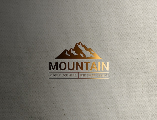 Primer plano de la maqueta del logotipo de lighting mountain