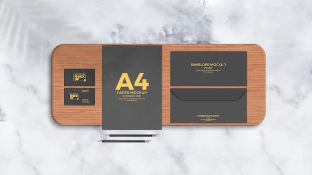 Primer plano de la maqueta de marca corporativa