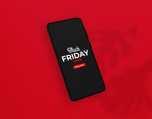 Primer plano de la maqueta de smartphone del viernes negro