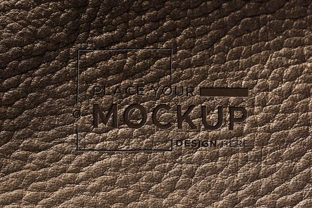 Primer plano de la maqueta de la superficie de cuero marrón