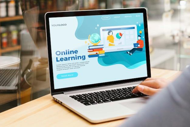 Primer plano de la página de inicio de aprendizaje en línea