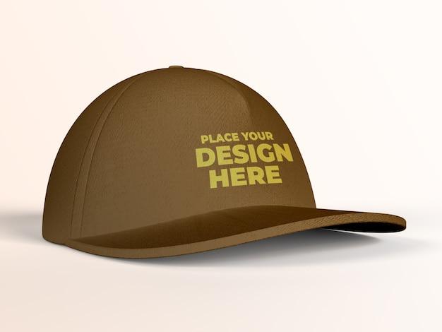 Primer plano de vista lateral de maqueta de gorra de béisbol