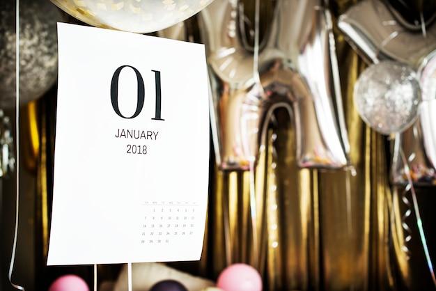 Primo piano del calendario di gennaio