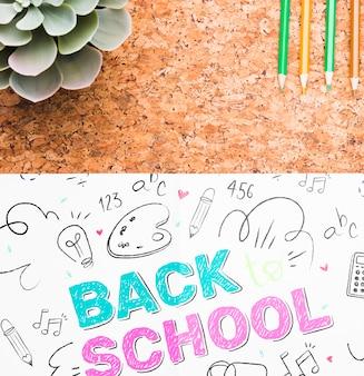 Primo piano di nuovo a scuola disegno mock-up